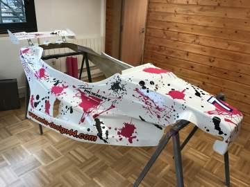Kart Cross déco stickers noir mat et rose