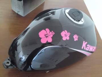 Kawasaki ER6 déco stickers hibiscus rose