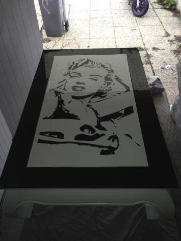 Table basse Marilyn Monroe peinture noir et blanc 44