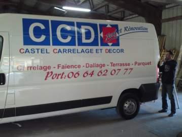 Publicité adhésive véhicule utilitaire chateaubriant 44