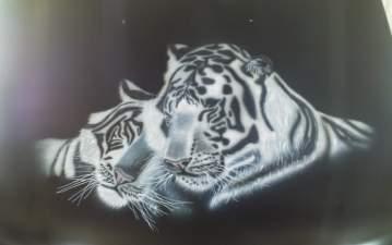 Peinture aérographe tigre
