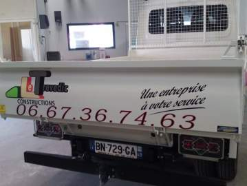 Réalisation publicité véhicule chantier