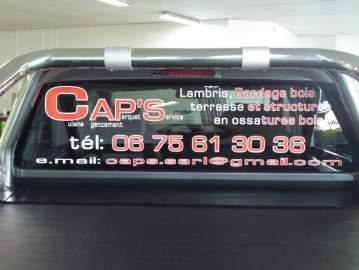 Publicité adhesifs lunette arrière Cap's