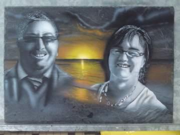 Portraits sur ardoise
