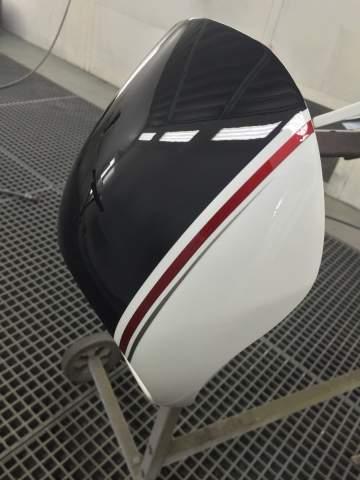 Harley Davidson carrosserie redressage réservoir + peinture déco 3 tons lettrage Porsche