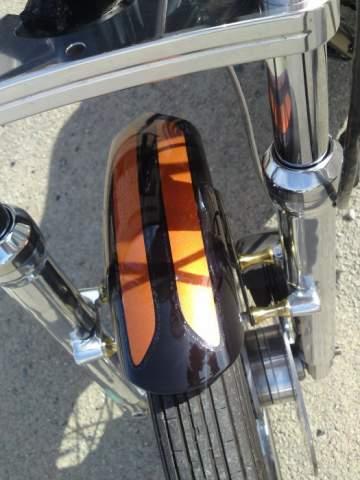 Harley Davidson peinture déco orange candy et paillettes or